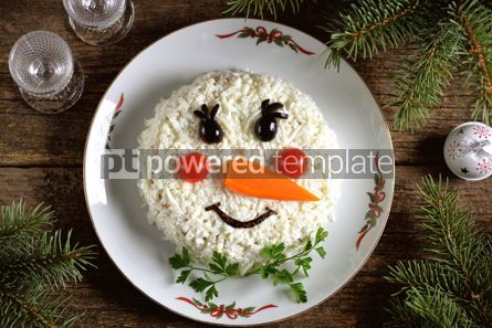 "Food & Drink: Traditional Russian New Year's salad ""Snowman"" on an old wooden background.  #05242"