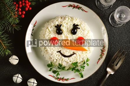 "Food & Drink: Traditional Russian New Year's salad ""Snowman"" on an old wooden background.  #05244"