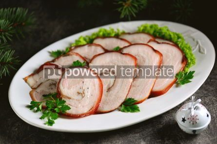 Food & Drink: Boiled pork belly roll in onion peel with bay leaf. #05246