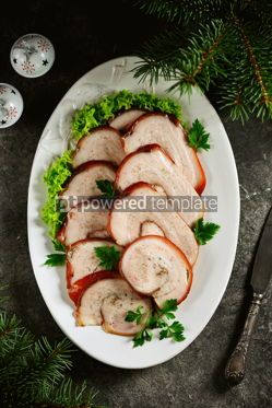 Food & Drink: Boiled pork belly roll in onion peel with bay leaf. #05247