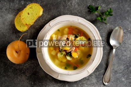 Food & Drink: Chicken soup with turnips carrots tomatoes and cauliflower. Top view.  #05248