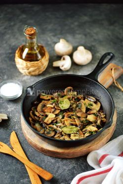 Food & Drink: Fried mushrooms with onions garlic bay leaf and dill. #05252