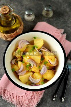 Food & Drink: Traditional German potato salad with red green onions and olive oil. #05254