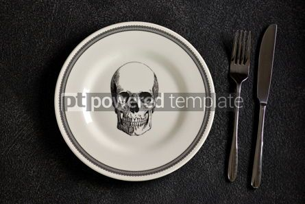 Food & Drink: Plate with a pattern of a skull fork and knife. Background for Halloween. Top view.  #05270