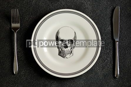 Food & Drink: Plate with a pattern of a skull fork and knife. Background for Halloween. Top view.  #05271