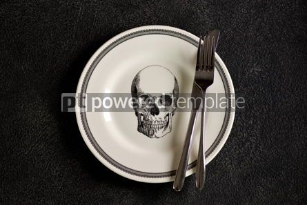 Food & Drink: Plate with a pattern of a skull fork and knife. Background for Halloween. Top view.  #05272