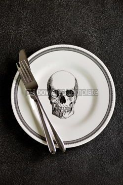 Food & Drink: Plate with a pattern of a skull fork and knife. Background for Halloween. Top view.  #05273