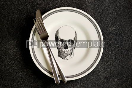 Food & Drink: Plate with a pattern of a skull fork and knife. Background for Halloween. Top view.  #05274