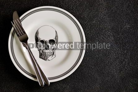 Food & Drink: Plate with a pattern of a skull fork and knife. Background for Halloween. Top view.  #05275