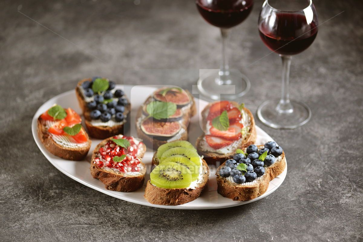 Healthy vegetarian sandwiches made from rye bread with soft cheese organic berries and fruits , 05277, Food & Drink — PoweredTemplate.com