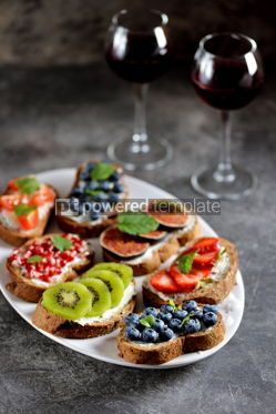 Food & Drink: Healthy vegetarian sandwiches made from rye bread with soft cheese organic berries and fruits  #05278
