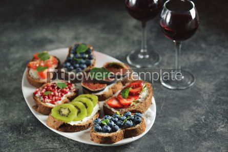Food & Drink: Healthy vegetarian sandwiches made from rye bread with soft cheese organic berries and fruits  #05279