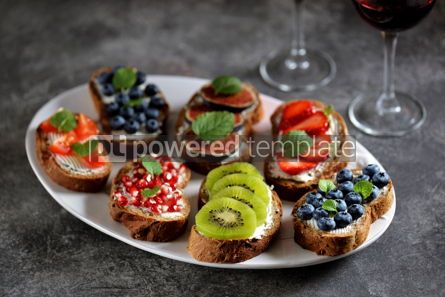 Food & Drink: Healthy vegetarian sandwiches made from rye bread with soft cheese organic berries and fruits  #05280