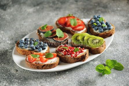 Food & Drink: Healthy vegetarian sandwiches made from rye bread with soft cheese organic berries and fruits  #05281
