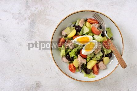 Food & Drink: French salad Nicoise with tuna boiled potatoes egg green beans tomatoes #05307