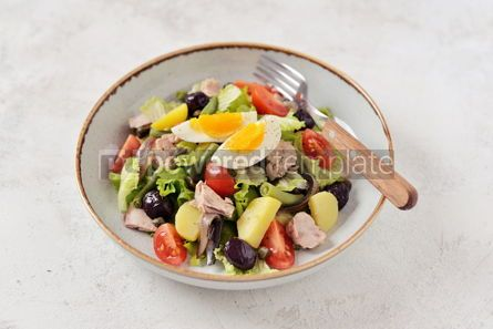 Food & Drink: French salad Nicoise with tuna boiled potatoes egg green beans tomatoes #05309
