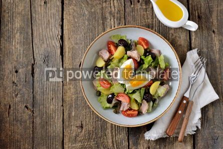 Food & Drink: French salad Nicoise with tuna boiled potatoes egg green beans tomatoe #05339