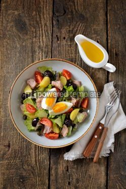 Food & Drink: French salad Nicoise with tuna boiled potatoes egg green beans tomatoe #05340