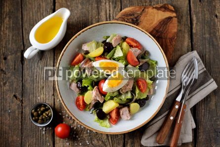 Food & Drink: French salad Nicoise with tuna boiled potatoes egg green beans tomatoe #05341