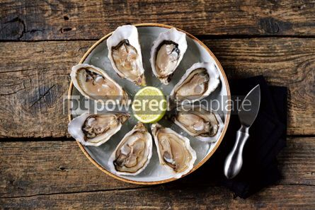 Food & Drink: Fresh oysters with slices of lemon on ice on old wooden background. Top view.  #05349