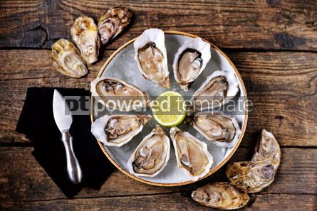 Food & Drink: Fresh oysters with slices of lemon on ice on old wooden background. Top view.  #05350