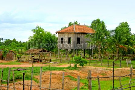 Architecture : Low buildings in Cambodian jungles #05402