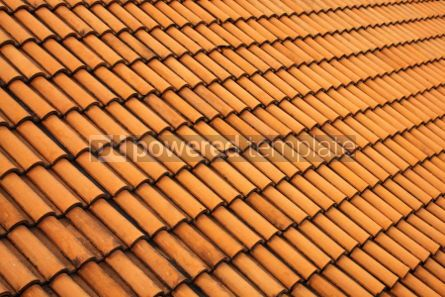 Abstract: A red tile roof with repeating patterns #05454