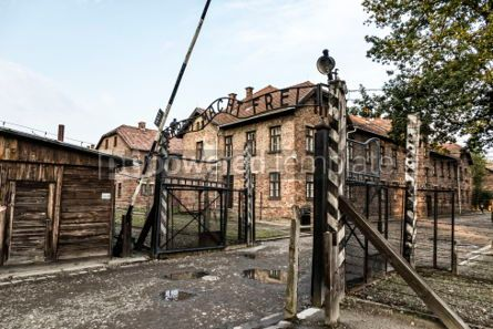 Architecture : Arbeit macht frei sign in Auschwitz I concentration camp Oswiec #05470