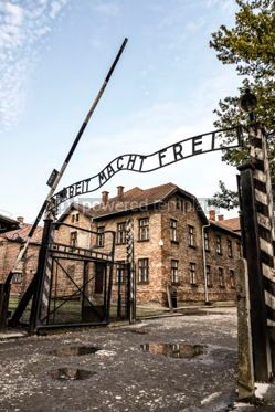 Architecture : Arbeit macht frei sign in Auschwitz I concentration camp Oswiec #05471