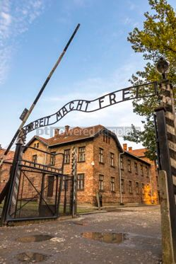 Architecture : Arbeit macht frei sign in Auschwitz I concentration camp Oswiec #05472
