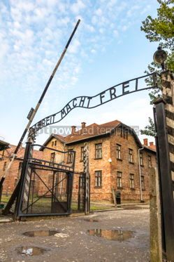 Architecture : Arbeit macht frei sign in Auschwitz I concentration camp Oswiec #05473