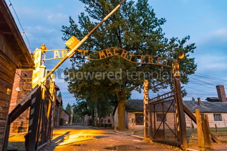 Architecture : Arbeit macht frei sign in Auschwitz I concentration camp Oswiec #05477