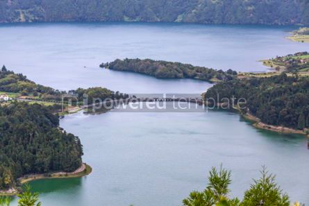 Nature: Lake of Sete Cidades on Sao Miguel island Azores Portugal #05500