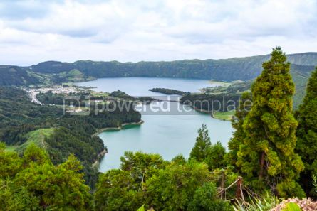 Nature: Lake of Sete Cidades on Sao Miguel island Azores Portugal #05501