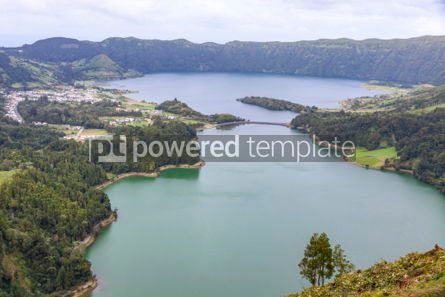 Nature: Lake of Sete Cidades on Sao Miguel island Azores Portugal #05504