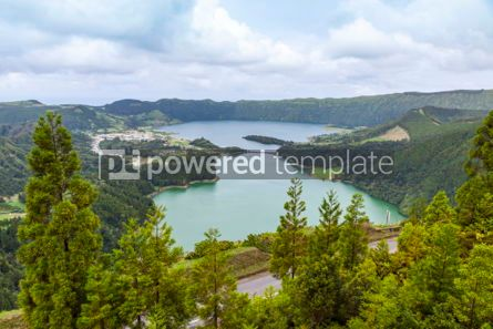Nature: Lake of Sete Cidades on Sao Miguel island Azores Portugal #05505