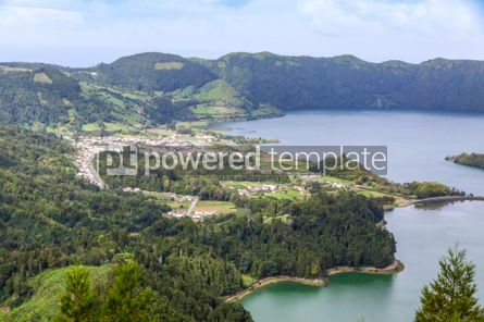 Nature: Lake of Sete Cidades on Sao Miguel island Azores Portugal #05507