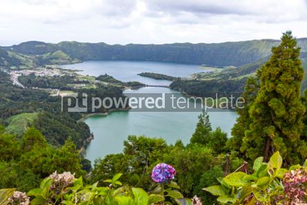 Nature: Lake of Sete Cidades on Sao Miguel island Azores Portugal #05508