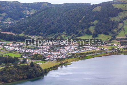 Nature: Lake of Sete Cidades and Sete Cidades city Azores Portugal #05509