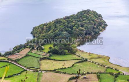 Nature: Green hilly terrain on Sao Miguel island of Azores Portugal #05510