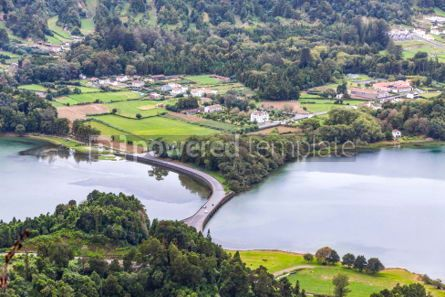 Nature: Lake of Sete Cidades on Sao Miguel island Azores Portugal #05511