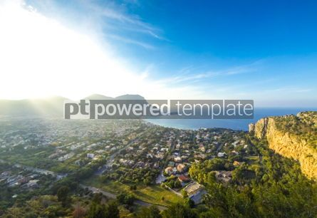 Nature: Panoramic aerial view of Mondello beach Palermo Sicily Italy #05516