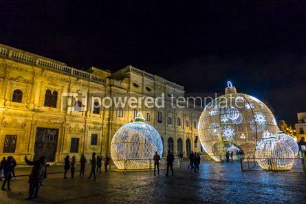 Holidays: Illuminated holiday decorations in Seville Spain #05541