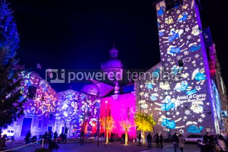 Architecture : Festive Christmas decorations on facades of buildings in Como I #05559