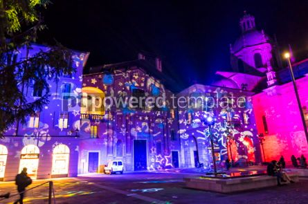 Architecture : Festive Christmas decorations on facades of buildings in Como I #05562