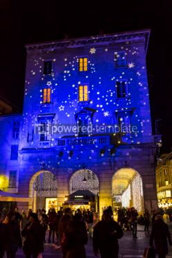 Architecture : Festive Christmas decorations on facades of buildings in Como I #05566