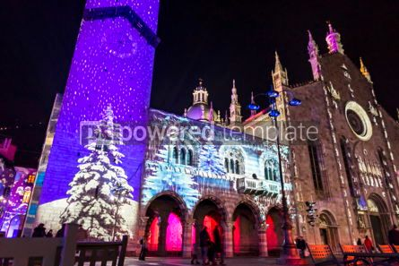 Architecture : Festive Christmas decorations on facades of buildings in Como I #05568