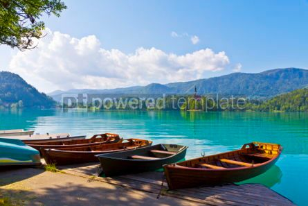 Transportation: Landscape with boats at the pier of Bled Lake Slovenia #05579