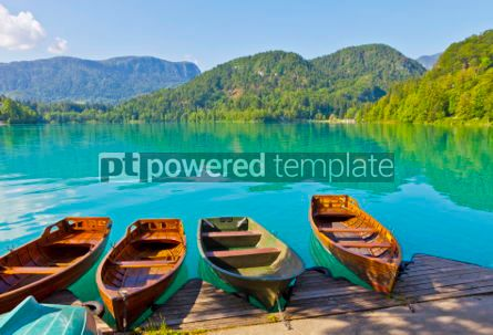 Transportation: Landscape with boats at the pier of Bled Lake Slovenia #05580