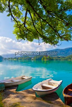Transportation: Landscape with boats at the pier of Bled Lake Slovenia #05581